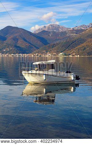 Beautiful Winter Mediterranean Landscape. Montenegro. View Of  Kotor Bay Near Tivat City