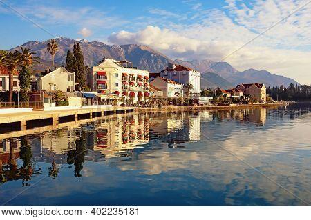 Beautiful Winter Mediterranean Landscape. Montenegro, Bay Of Kotor. View Of Embankment Of Tivat City