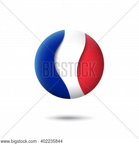 France Flag Icon In The Shape Of Circle. Waving In The Wind. Abstract Waving France Flag. French Tri