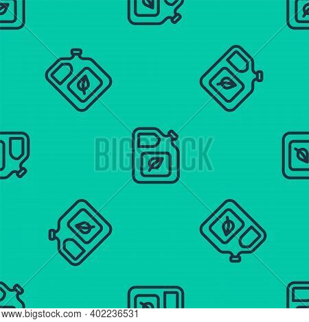 Blue Line Bio Fuel Canister Icon Isolated Seamless Pattern On Green Background. Eco Bio And Barrel.