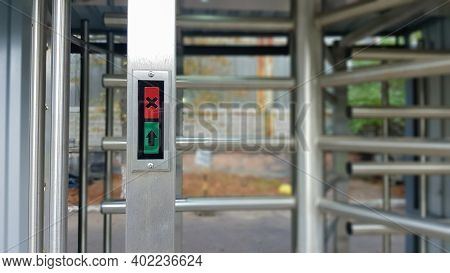 Modern Entrance With A High Level Of Security, Automatic Electronic Turnstile, Access System And Bio