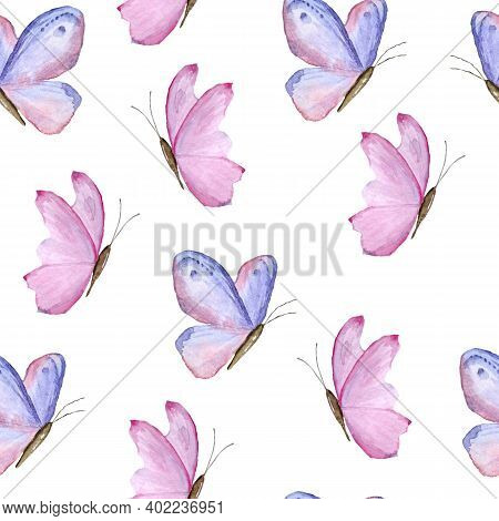 Seamless Watercolor Hand Drawn Pattern With Pink Purple Lavender Violet Butterflies. Trendy Wild Ins
