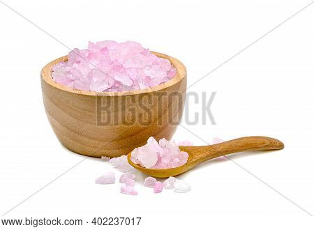 Rock Sugar Or Crystalline Sugar With Wooden Bowl And Spoon Isolated On White Background
