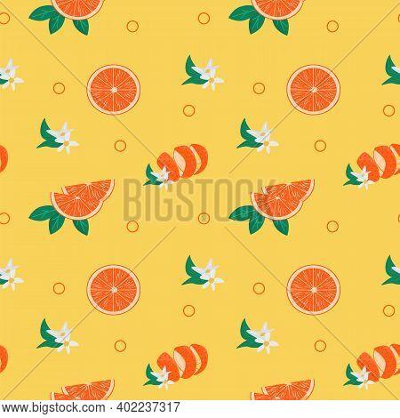 Bright Colorful Seamless Pattern With Orange Fruit, Skin Peel, Leaves And Blooming Flowers. Juicy Tr