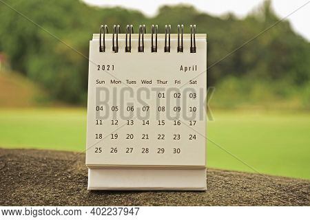 April 2021 Calendar On Top Of Big Stone - 2021 New Year Concept