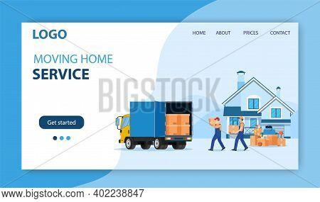 Delivery Service Concept. Moving House. Man With Cardboard Boxes. Truck For Transportation Of Goods