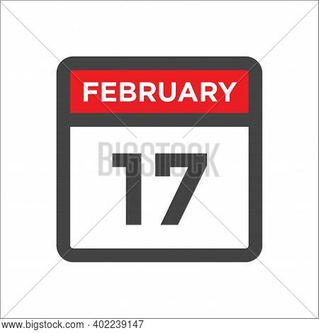 February 17 Calendar Icon With Day And Month
