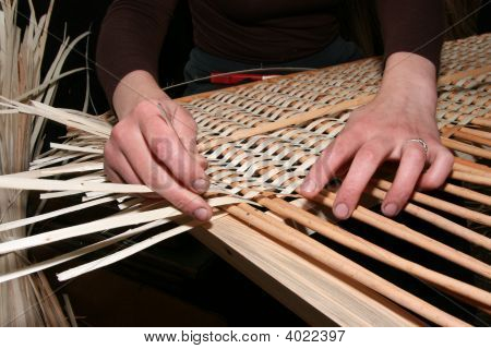 Female Hands Manually Mastering Wicker Fabric 1