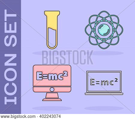 Set Equation Solution, Test Tube And Flask, Equation Solution And Atom Icon. Vector