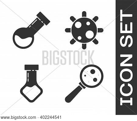 Set Microorganisms Under Magnifier, Test Tube And Flask Chemical, Test Tube And Flask Chemical And B
