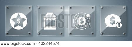 Set Speech Bubble With Dollar, Target With Dollar Symbol, Shopping Building Or Market Store And Star