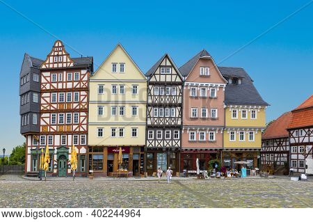 Neu Anspach, Germany - June 25, 2020: Market Place At Hessenpark In Neu Anspach. Since 1974, More Th