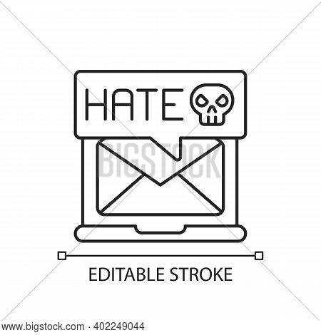 E-mail Cyberbullying Linear Icon. Hate Messages. Offensive Mail. Receive Hurtful Anonymous Text. Thi