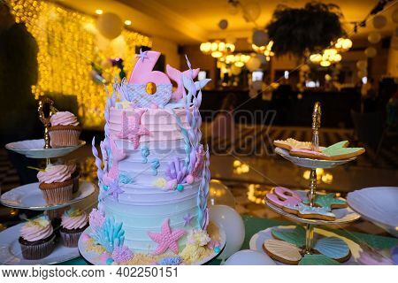 Delectable Birthday Mermaid Theme Cake Decorated With Colorful Seashells And Starfish With Number 6