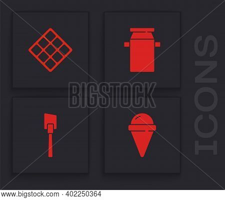 Set Ice Cream In Waffle Cone, Waffle, Can Container For Milk And Spatula Icon. Vector
