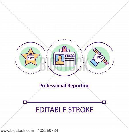 Professional Reporting Concept Icon. Reporter Work. Article Writer. Job In Mass Media. Journalism Id