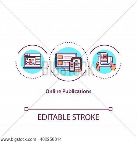 Online Publications Concept Icon. Internet Article. Digital Content. Electronic Book. Journalism Ide