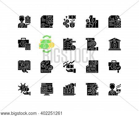 Accounting Black Glyph Icons Set On White Space. Business Controlling Methods. Accounting Software F