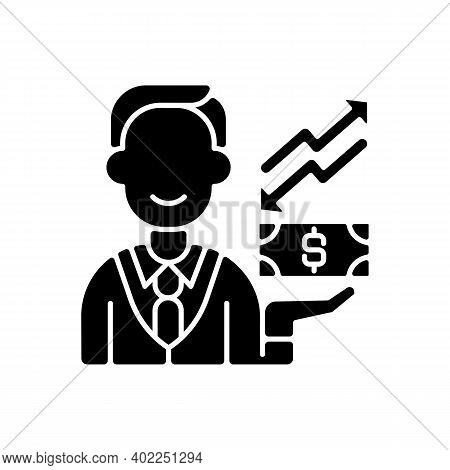 Equity Black Glyph Icon. Ownership Of Assets That May Have Debts Or Liabilities Attached To Them. Di