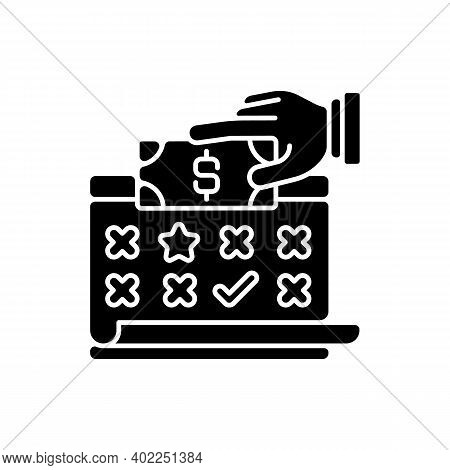 Payroll Black Glyph Icon. List Of Employees Of Some Company That Are Entitled To Receive Pay For Tim