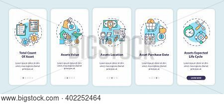 Assets Inventory Elements Onboarding Mobile App Page Screen With Concepts. Asset Total Count, Value