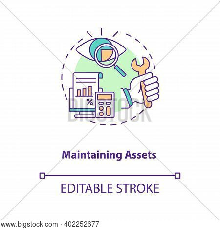 Maintaining Assets Concept Icon. Asset Management Component Idea Thin Line Illustration. Repairs And