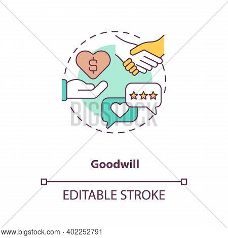 Goodwill Concept Icon. Intangible Assets Type Idea Thin Line Illustration. Acquiring Existing Busine