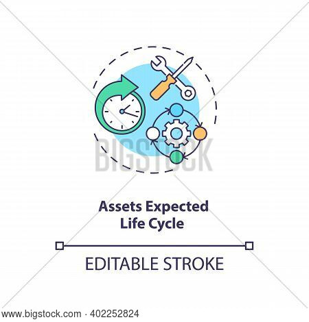 Assets Expected Life Cycle Concept Icon. Assets Inventory Element Idea Thin Line Illustration. Optim
