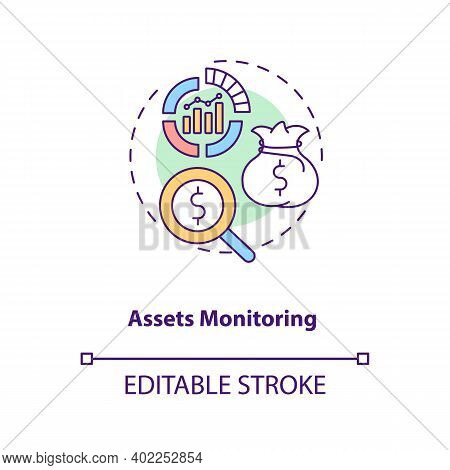 Assets Monitoring Concept Icon. Asset Management Benefit Idea Thin Line Illustration. Verifying Loca