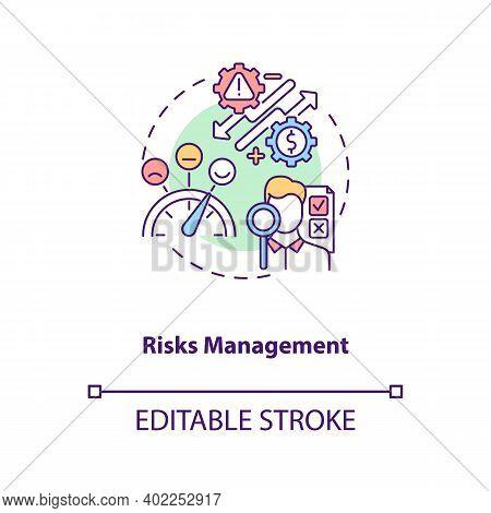Risks Management Concept Icon. Asset Management Benefit Idea Thin Line Illustration. Risks Identific