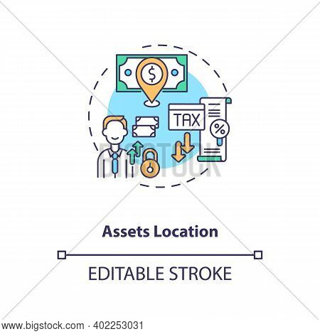 Assets Location Concept Icon. Assets Inventory Element Idea Thin Line Illustration. Money Keeping. T