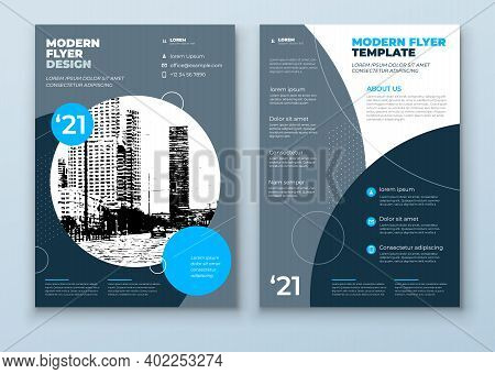 Flyer Template Layout Design. Blue And Grey Corporate Business Flyer Mockup. Creative Modern Vector