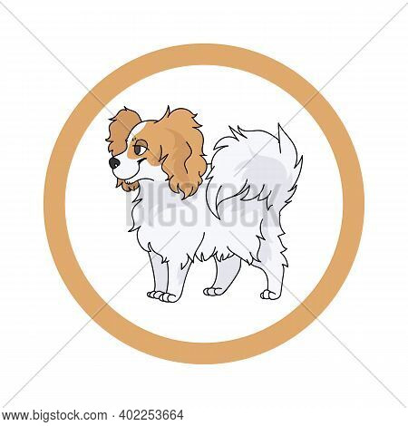 Cute Cartoon Papillon In Dotty Circle Dog Vector Clipart. Pedigree Kennel Doggie Breed For Kennel Cl