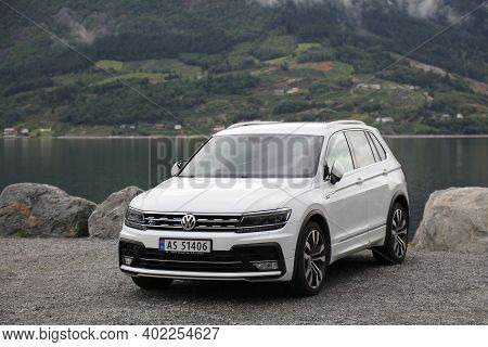 Kinsarvik, Norway - July 30, 2020: Volkswagen Tiguan Suv Car Parked In Norway. There Are 2.8 Million