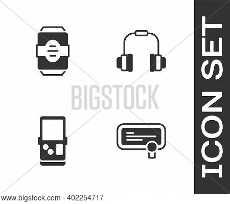 Set Certificate Template, Energy Drink, Tetris And Headphones Icon. Vector