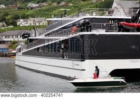 Ullensvang, Norway - July 30, 2020: Vision Of The Fjords Hybrid Electric Sightseeing Boat In Hardang