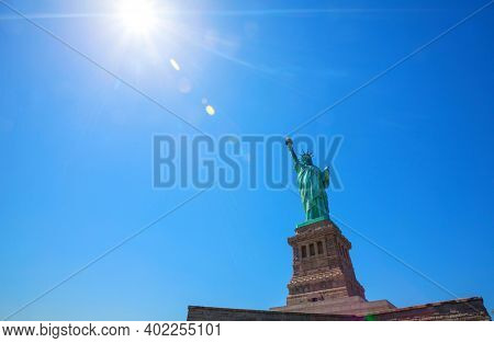 NEW YORK, USA - JUNE 25, 2020: The Statue of Liberty National Monument on the Liberty island, Manhattan, New York, USA.