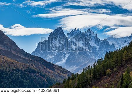 The High Mountains Of Haute Savoie In Autumn. French Alps Near Vallorcine, Chamonix-mont-blanc In Fr