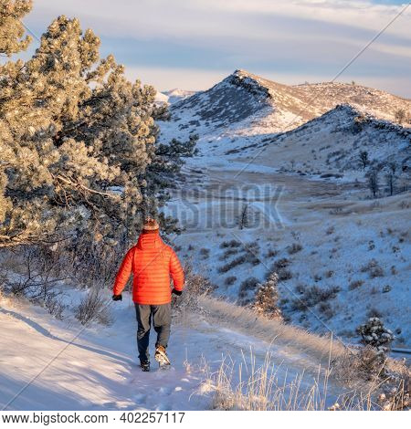 morning winter walk at Colorado foothills of Rocky Mountains along Horsetooth Reservoir with fresh snow