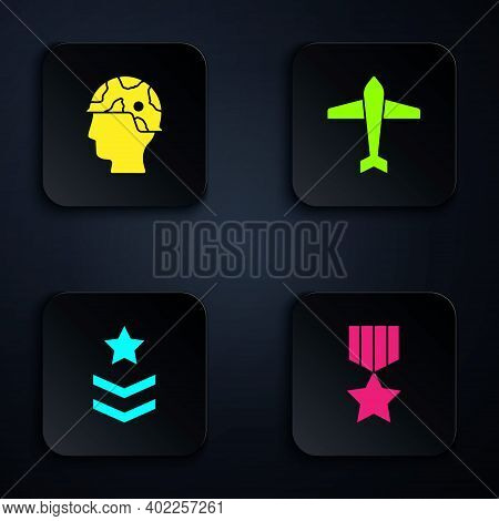 Set Military Reward Medal, Army Soldier, Rank And Jet Fighter. Black Square Button. Vector