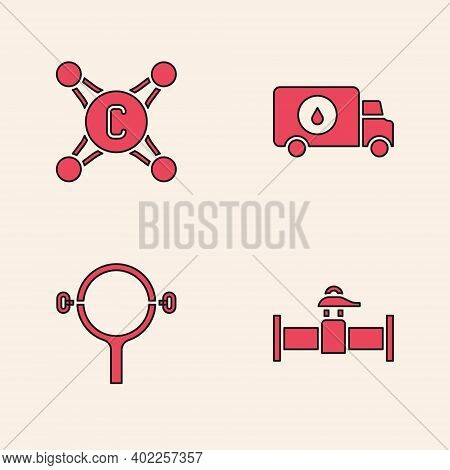 Set Industry Pipe And Valve, Water Tap, Plumber Service Car And Filter Wrench Icon. Vector