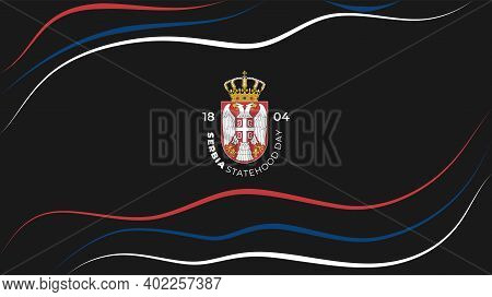Red, Blue, And White Line Art Background With Serbia Symbol For Serbia Statehood Day Design.