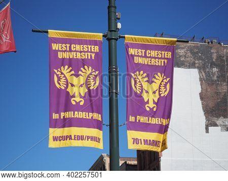 Philadelphia, Usa - June 11, 2019: A Banner Of The West Chester University In Philadelphia Near Mark