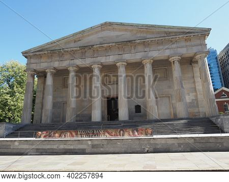 Philadelphia, Usa - June 11, 2019: Image Of The Second Bank Of The United States Situated In Philade