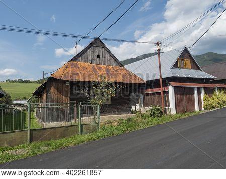 Liptovska Luzna, Low Tatras, Slovakia, August 30, 2020: Street Of Village Liptovska Luzna With Two O