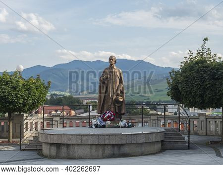 Ruzomberok, Slovakia, August 30, 2020: View Of Bronze Statue Of Andrej Hlinka In Ruzomberok Old Town