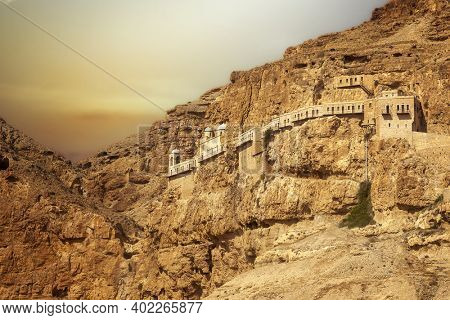 The mount of the temptation of Jesus in Jericho