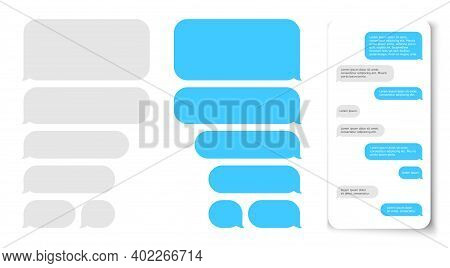 Message Bubbles. Text Balloon On Phone Dispaly. Design Template For Messenger Chat