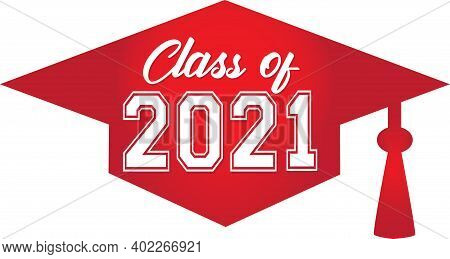 Class Of 2021 Red Graduate Cap Graphic Banner