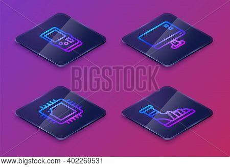Set Isometric Line Tetris, Processor With Cpu, Computer Monitor Screen And Slippers Socks. Blue Squa